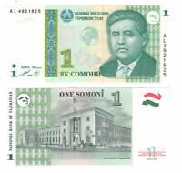 UNC TAJIKISTAN 1 Somoni (1999) P-14A Banknotes Paper Money