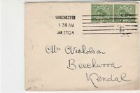England 1912 Manchester Cancel Stamps Cover to Kendal Ref 34885