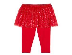 Garanimals Baby Girl's Skeggings size 12M Red Gold Embellishment Skirt Pull-On