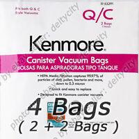 GENUINE 4 Pack Kenmore 53291 Type Q/C HEPA Vacuum Cleaner Bags Canister Style pk
