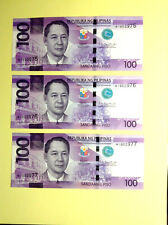PHILIPPINES BANKNOTE 🔥🌅 PESOS (3) 1902975-77 CONSECUTIVE  REPLACEMENT* PREFIX
