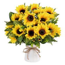 2pcs Artificial Sunflower Bouquet Decorative Wedding Flowers,7 Flowers Per Bunch