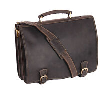 Mens Leather Briefcase Classic Vintage Brown Flapover Laptop Office Business Bag