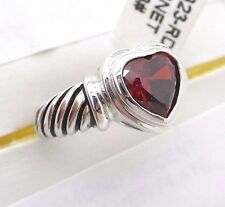 Garnet Ring Size 8 Red Heart Shaped Stainless Steele