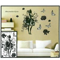 3D Prinzessin Schmetterlinge Blumen Wanddeko Wandtattoo Wandaufkleber Dekoration