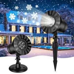 Snowflake LED Light Projector Lamp Landscape Xmas Halloween Party Spotlight Lamp