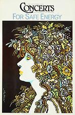Original Vintage Poster Concerts Safe Energy Green Environmental MUSE Nature 70s
