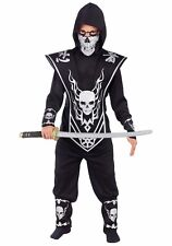 Black Silver Skull Lord Ninja Boy's Costume Top, Pants, & Tunic 4-6 Small #R28