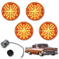 1958 Chevy Impala Bel Air Biscayne LED Amber Park Light Lens & Flasher Set of 4