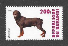 Dog Art Photo Body Study Portrait Postage Stamp ROTTWEILER Burundi 2010 MNH