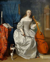 """high quality oil painting 100% handpainted on canvas """"Woman Playing the Viola """""""