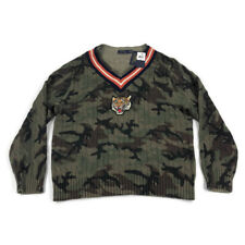 Polo Ralph Lauren Sweater V Neck Cable Knit Tiger Patch Camo Sz XXL