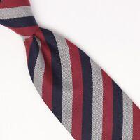 John G Hardy Mens Silk Cotton Necktie Burgundy Gray Black Stripe Weave Woven Tie