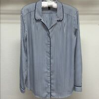 Banana Republic Sheer Top Womens Size Small Blouse Striped Button Down Shirt
