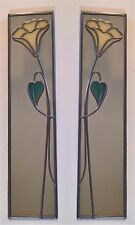 Mackintosh Style Hand Crafted Stained Glass Effect Mirror trumpet 10x40cm pair