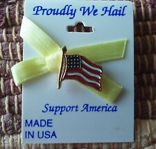 New listing U.S.A. Flag with yellow ribbon lapel pin pre-owned