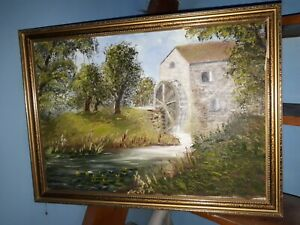 Framed Oil Painting of a Water Mill