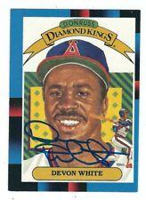 Autographed Devon White California Angels 1988 Donruss Diamond King Card #8