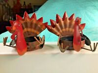 "Set of 2 Metal Thanksgiving Turkey Tea Light Candle Holders 2.5"" Fall Home Decor"