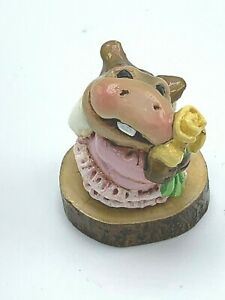 Wee Forest Folk Miniature Figurine H3s Baby Hippo Forget me Not Series Limited