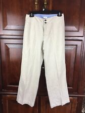 Liz Claiborne AUDRA Women Sz 8P Natural Tan Khaki Dress Pants Linen+Cotton EUC