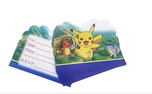 10pc  Pokemon Pikachu Kids Party Invitations Happy Birthday