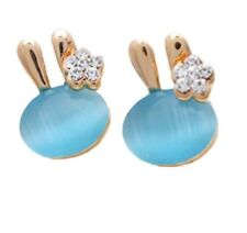 Blue Opal Bunny Earrings White Crystal Flower Gold Plated Fashion Jewellery