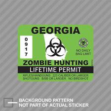 Georgia Zombie Hunting Permit Sticker Decal Vinyl Outbreak Response Team