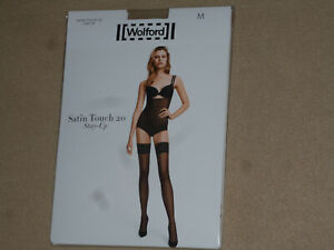NIP Wolford Satin Touch 20 Thigh High Stayup Stockings MEDIUM Gobi