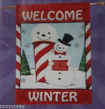 "Christmas Forever Applique Welcome Winter Snowman Decorative Flag 28X40"" NIP"