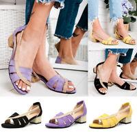 Womens Summer Slip On Sandals Open Toe Shoes Casual Block Heel Espadrilles Size