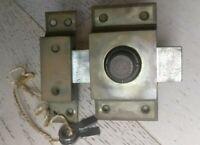 Verrou ancien à pompe de sécurité JM incrochetable en laiton et acier.2 clés