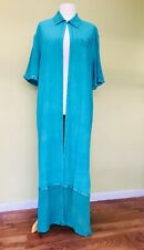 Turquoise Open Full Length Kimono Silky 18 20 Lagenlook Holiday Cruise Ethereal