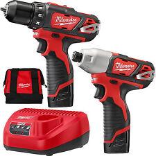 M12 Drill / Impact Combo Kit Milwaukee 2494-22 New