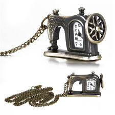 Sewing Machine Design Pendant Vintage Chain Pocket Watch Necklace Alloy