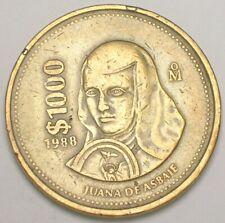 1988 Mexico Mexican 1000 Pesos Asbaje Eagle Snake Coin VF+