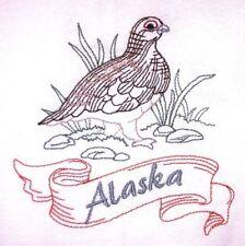 STATE BIRD-ALASKA-WILLOW PTARMIGAN EMBROIDERED FLOUR SACK DISH TOWEL