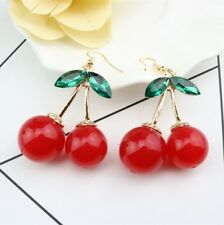 Red Cherry Diamante Crystal Drop Dangle Chandelier Hook Earring Studs *US Seller