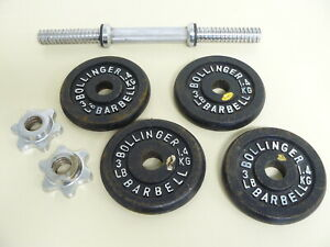 4 VINTAGE BLACK BOLLINGER 3 POUND CAST IRON WEIGHT PLATES  & 2 THREADED COLLARS