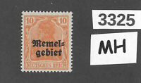 #3325    PF10  MH stamp Sc 03 1920 Memel / Lithuania / Prussia / Germany WWI
