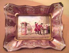 high quality antique handmade sterling silver French enamel tray dish painting