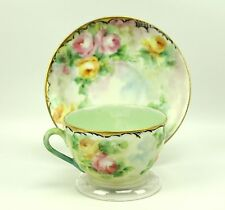 Vintage *Signed* Handpainted Pink & Yellow Roses Gold Trim Teacup & Saucer