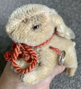 "Hermann Original Teddy Running Bunny Rabbit Mohair With Swing Tag 5"" L Vintage"
