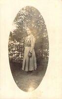 Early 1900s Girl in Fancy Dress Outdoor Portrait Oval Frame Victorian RPPC Photo