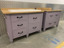 Freestanding Solid Painted Pine With Oak Tops Kitchen Ceramic Sink & Hob Unit