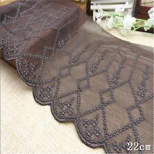 "1 Yard Chocolate Brown Vintage Delicate Net Wide Lace Trim  7 1/2"" Wide"