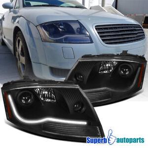 For 1999-2006 99-06 Audi TT Projector Headlights Head Lamps Black LED Strip Bar