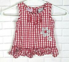 Young Hearts Checkered Floral Top Red White Girls Size 3T