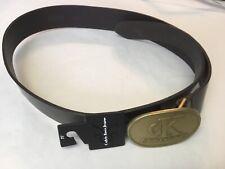 Calvin Klein Women's Belt Medium Dark Brown Wide Leather