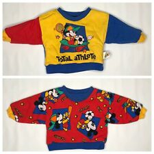 Vtg Mickey Mouse Co Reversible Sweatshirt 12-18m  Boys Puffy Sports Color Block